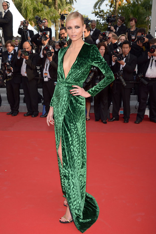 Emerald Green - Natasha-Poly-in-Gucci-Runway-Fall-Winter-2012-2013-Emerald-Green-Printed-Velvet-Long-Sleeved-Evening-Gown