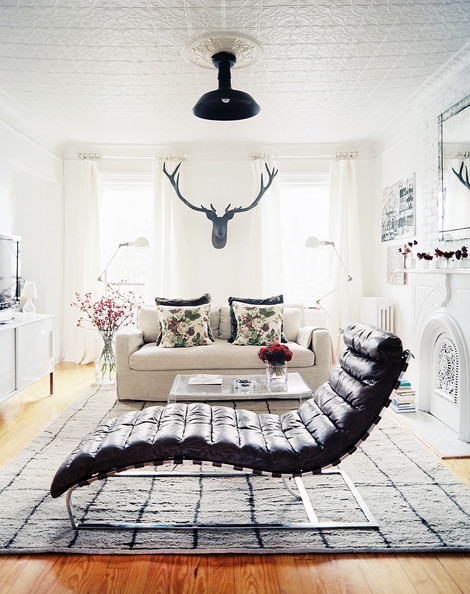 Lonny Nov Living+Room+Eclectic+leather+chaise+linen