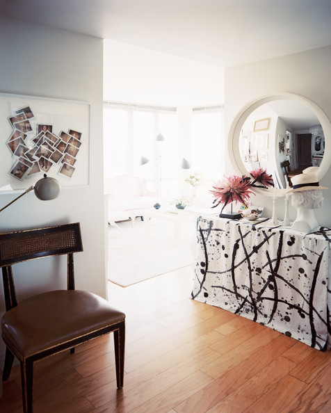 Lonny - Eclectic Hallway+convex+mirror+hung+above+skirted+table+