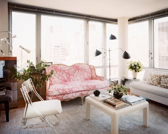 Lonny - Eclectic+Living+Room+settee+Lucite+chair+light