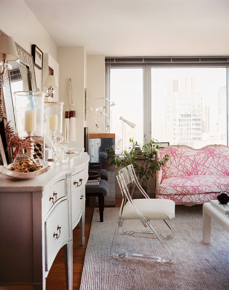Lonny - Living+Room+Lucite+chair+beside+white+sideboard+23