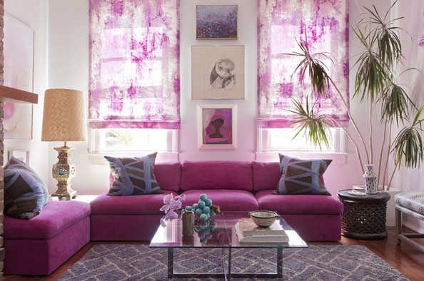 Angie Hranowsky House Tour Living+Room+pink+couch+glass+topped+coffee