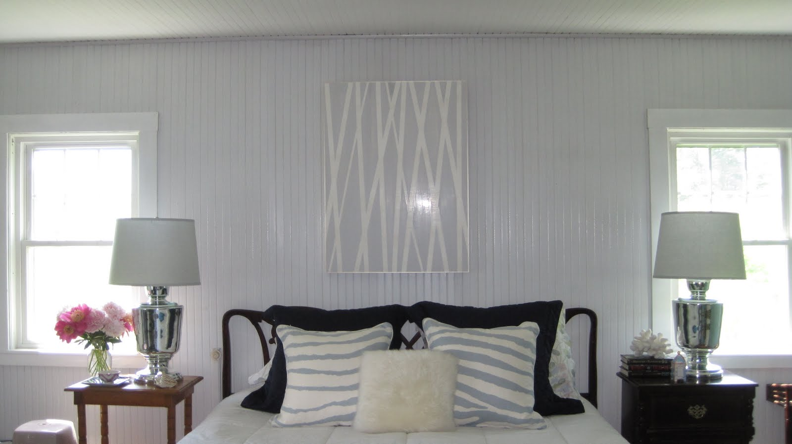 Grey Paint Beadboard Bedroom