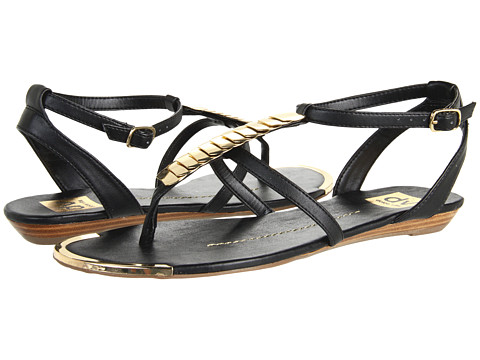 Dolce Vita Black and Gold Thong Wedge Sandal