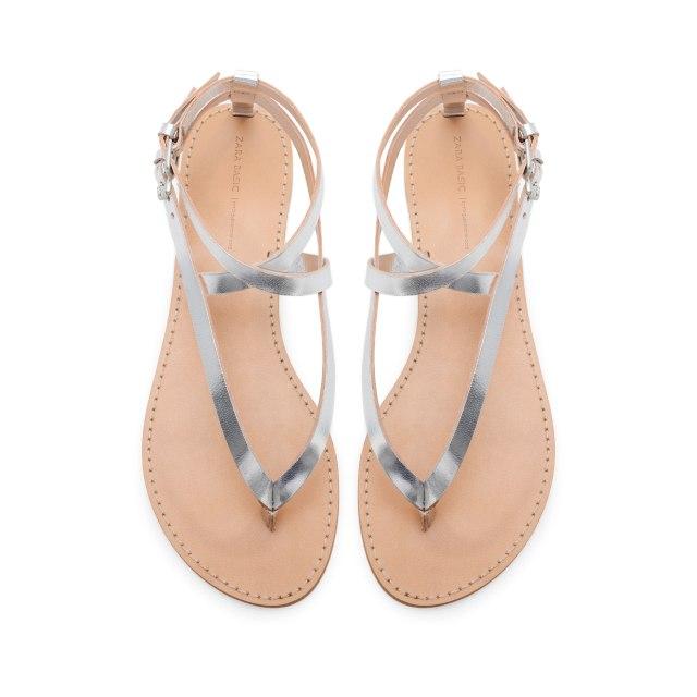 Zara Silver flat sandals