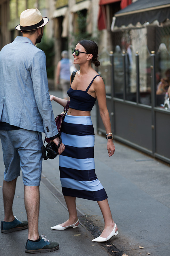 Blue Stripes Crop Top Midid Skirt via Sartorialist
