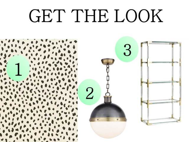 Get the Look Spotted Wallpaper Hicks Pendant Jacques Jonathan Adler Etagere