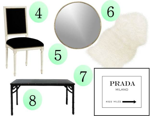 Get the Look Spotted Wallpaper Lacquer Bamboo Desk CB2 Drip Mirror Prada Milano Print Sheepskin Rug Louis Chair