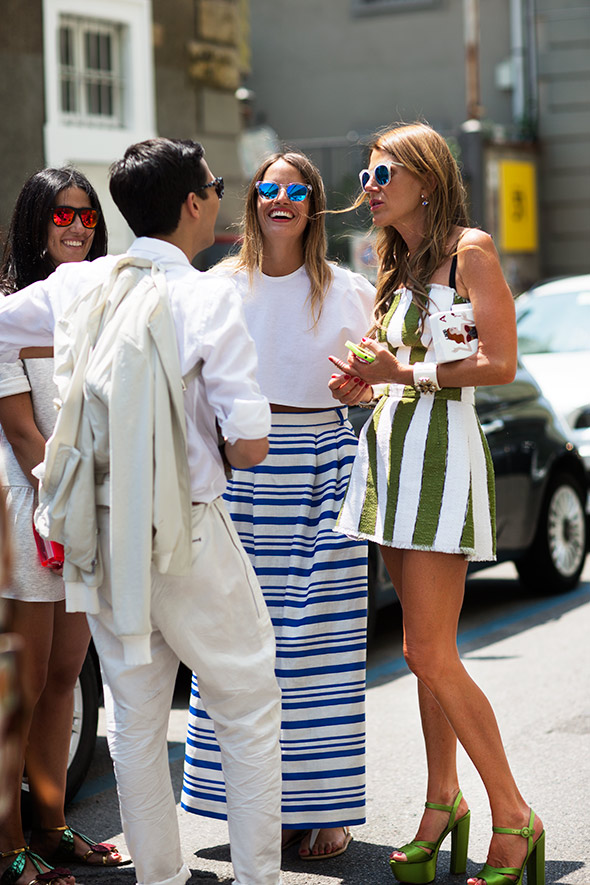Milan White Crop Blue Stripes Sartorialist
