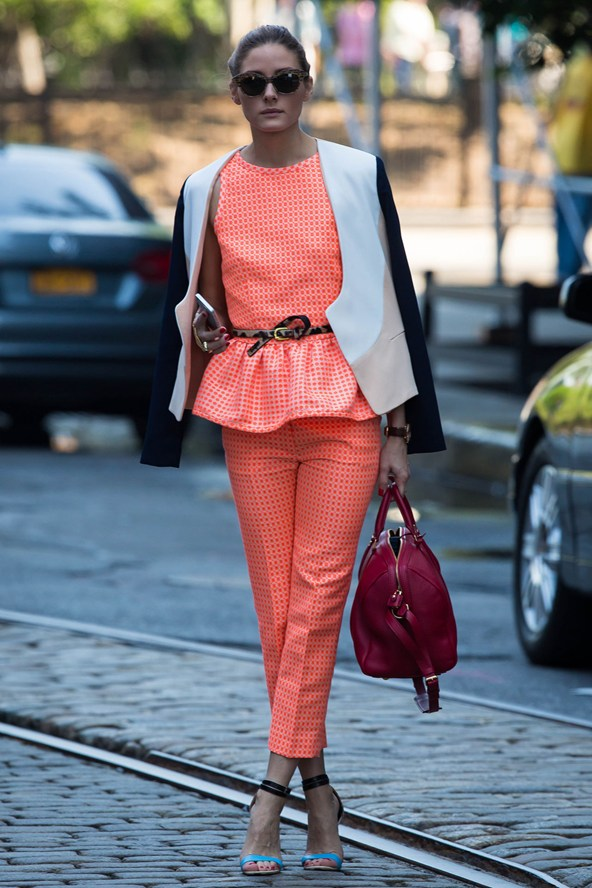 olivia-palermo-new-york-city-diane-von-furstenberg-feriha-colorblock-jacket-msgm-jacquard-peplum-top-jacquard-cropped-trousers
