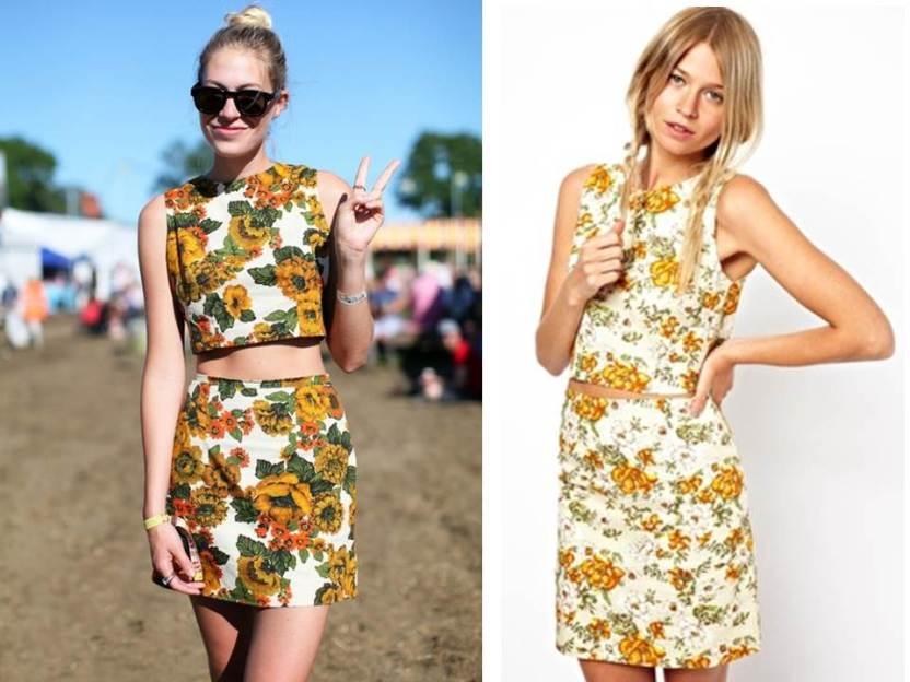 Floral Crop Top Matching Skirt Asos