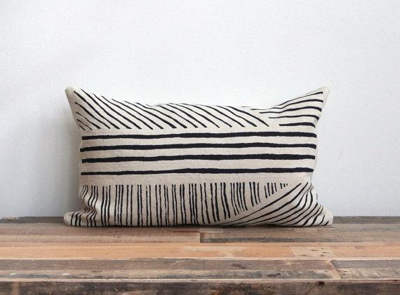Hand Printed Lumbar Pillow