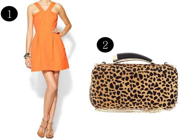Shoshanna-Orange-Dress-Leopard-Clutch