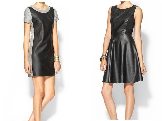 C.Luce Vegan Leather Shift Vegan Leather Cutout Skater Dress