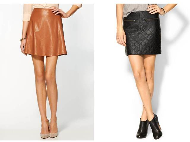 Vegan Leather Full Skirt and Quilted Mini