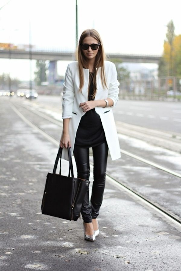 Black&White_StreetStyle_White_Coat_BlackLeather_Leggings_LaurenConrad