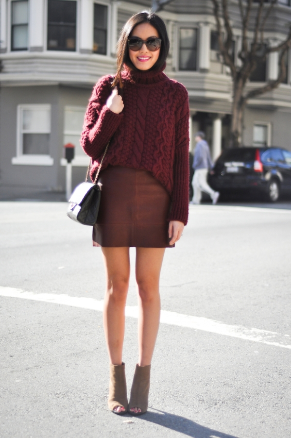 Burgundy Leaher Skirt and Cable knit sweater