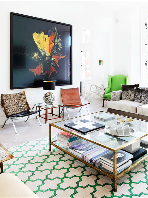 Green_Morrocan_Trellis_Rug_Eclectic_Texture_Brass_Coffee_Table_White_LivingRoom