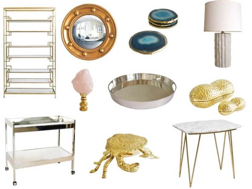 High Street Market Home Decor Finds Bar Cart Agate Coasters Brass Etagere