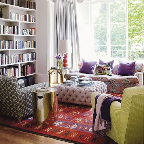 Mixed_Prints_Upholstery_Pinks_Reds_Violet_Green_Brass_Living_Room