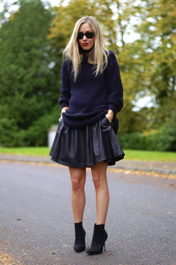 Sweater and full leather skirt street style