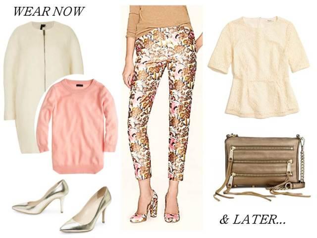Wear_Now_Wear_Later_J.Crew_Jacquard_Pants_RebeccaMinkoff_Clutch_Tippi_Sweater_ClubMonaco_Metallic_Pumps