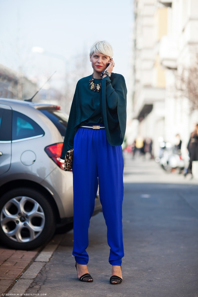 Elisa-Nalin-cobalt-trousers-emerald-top-blue-street-style-trend-2013-2014