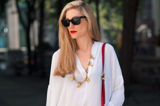 Joanna-Hillman-Red-Lip-White-Blouse-Street