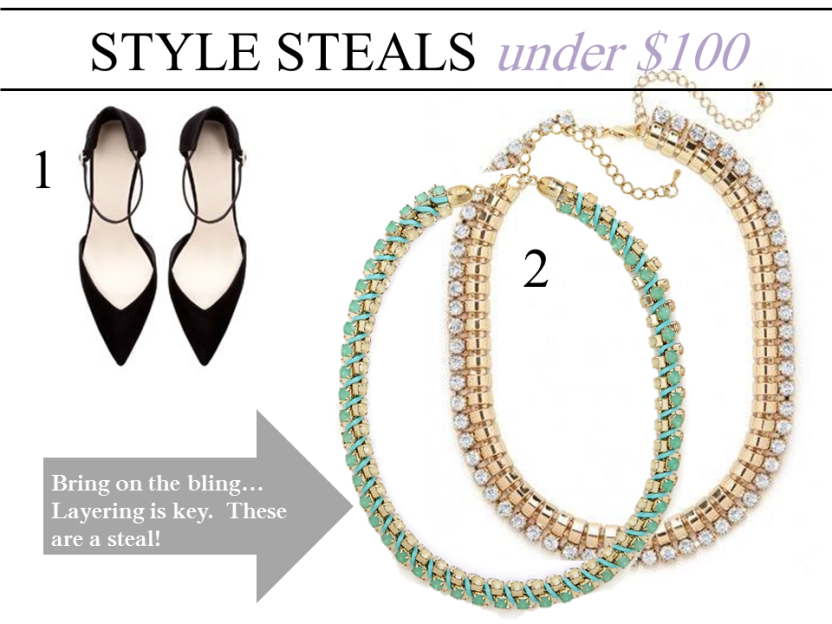 Style Steals Under 100 Zara Bauble Bar Sole Society Clutch Pumps Necklaces.jpg