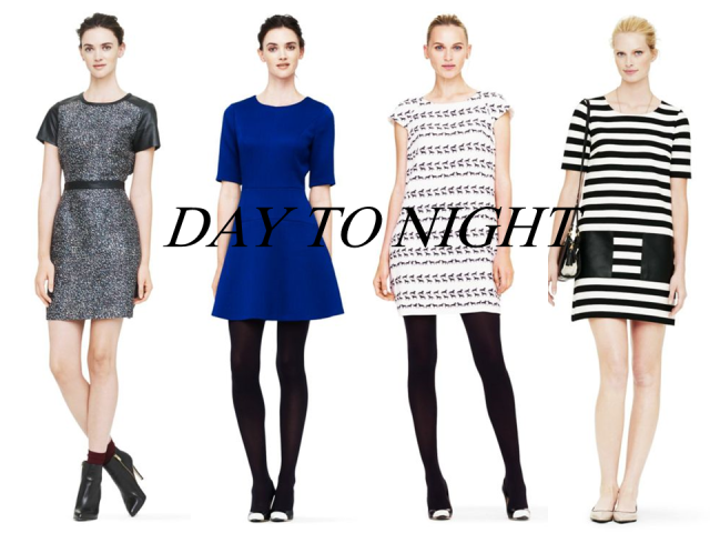 club monaco sale finds work dresses day to night neoprene skater skirt drop waist stripe printed leather sleeves