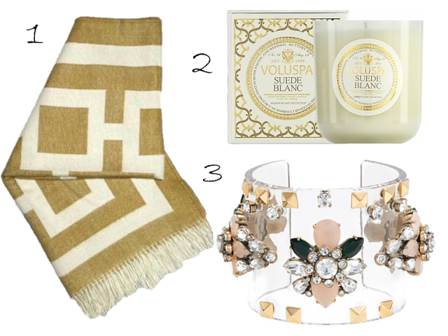 Gift Guide 2013 Jonathan Adler Nixon Throw Volpsa Candle J.Crew Jewel Bangle