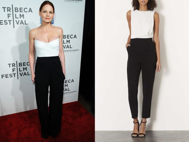 Jennifer Morrison Donna Karen Topshop Black White Lace Back Jumpsuit