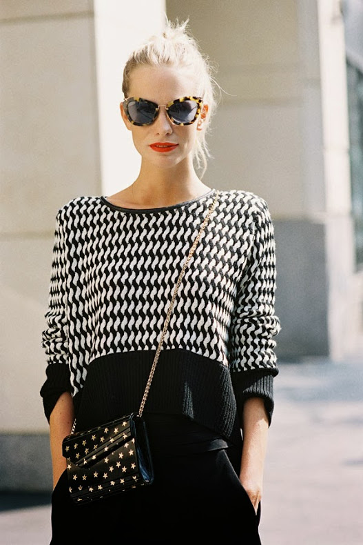 Poppy Delevingne October 2013 Black White Sweater Cat Eye Tortoise Sunglasses Red Lip Crossbody Bag