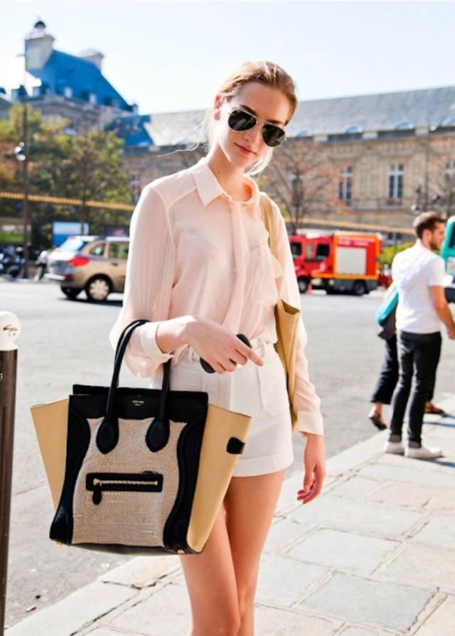 blush blouse celine bag white shorts tumbler