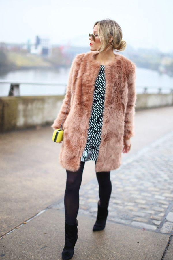 blush tones fur coat black white yellow crossbody bag