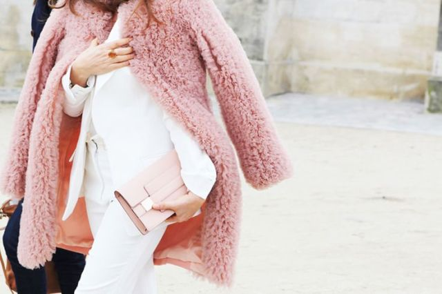 blush tones fur coat white jacket petal pink clutch