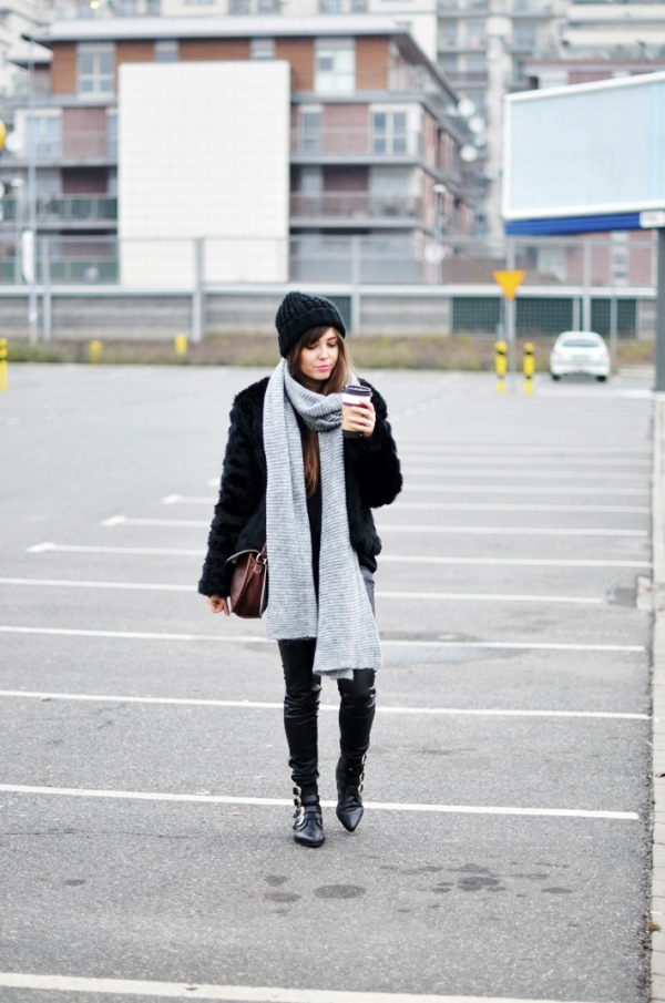cold weather street style black fur coat jestem kasia