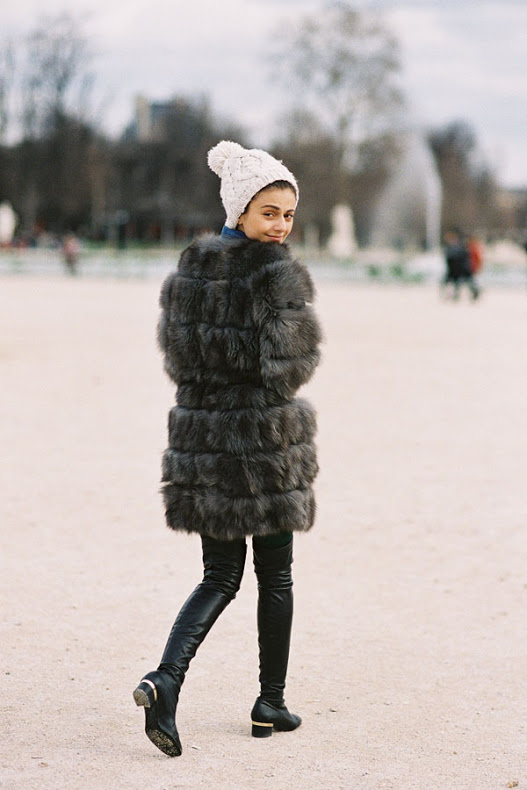 cold weather street style fur coat leather pants beanie fashion week