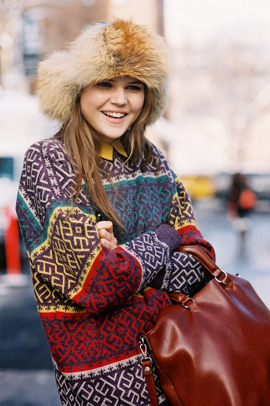 cold weather street style fur hat swaeter coat