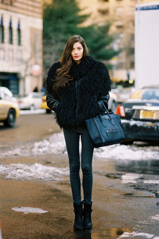 cold weather street style mixed fur coat leather pants new york fashion week