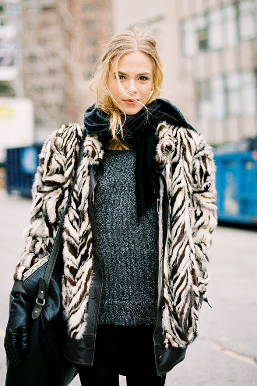 cold weather street style mixed fur coat