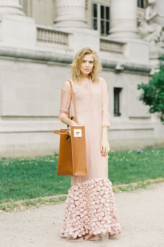 elena perminova blush pink maxi dress paris