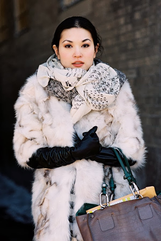 Jennifer Yee Fur Leather Cold Weather Street Style