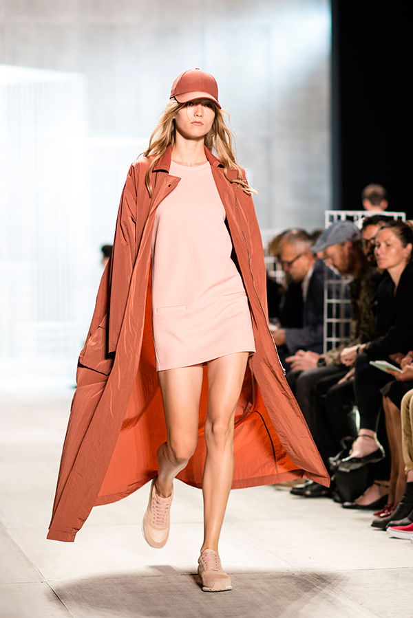 lacoste ss 2014 blush peach rust rose coat dress runway