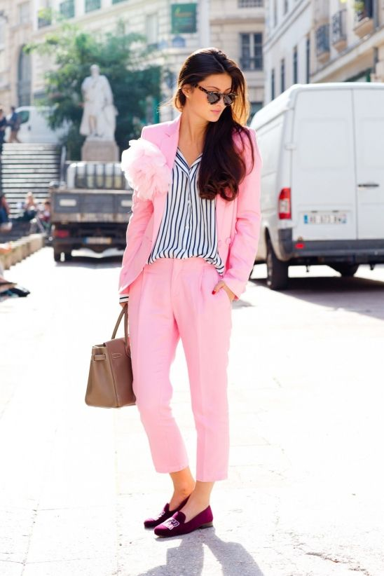 peony lim paris fashion week pink suit