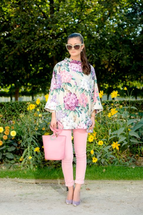 peony lim paris floral tunic pink cropped trouser cat eye sunglasses