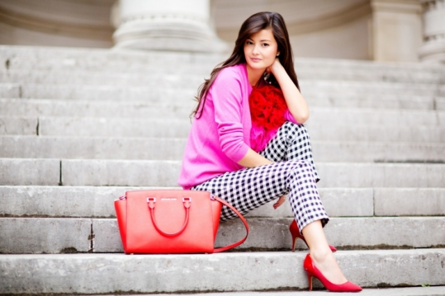 peony lim paris pink red checkered