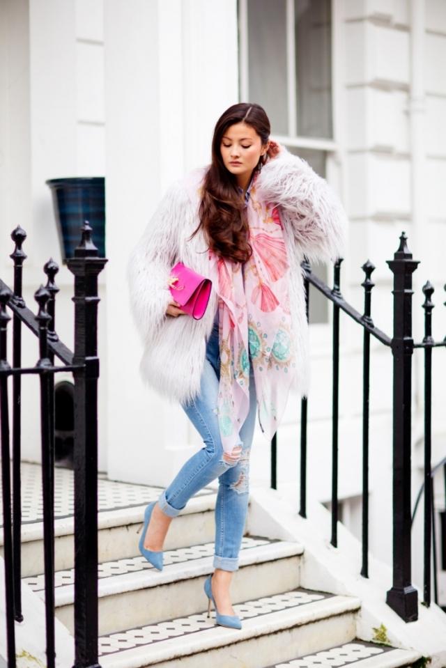 peony lim versus pink clutch fur boyfriend skinny denim scarf