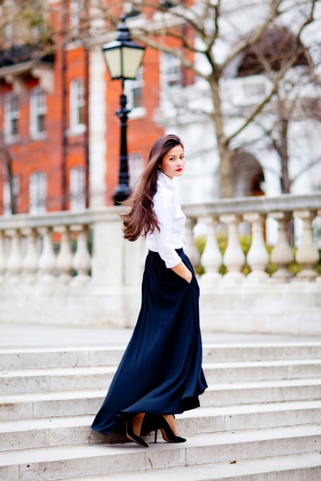 peony lim white shirt maxi skirt