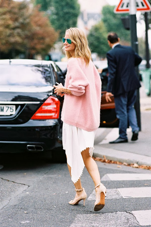 Pink Sweater White Skirt Mirrored Sunglasses Vanessa Jackman